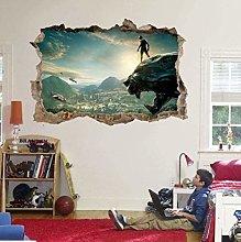 WARMBERL Adesivo Murale Black Panther Super Hero