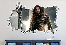 WARMBERL Aquaman 3D Adesivo Murale Film Smashed