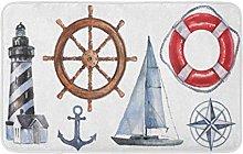 Watercolor Nautical Marine Faro Salvagente Ancora