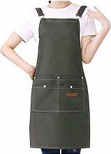 Watwass Ciano Grembiule da Cucina Donna con Tasche