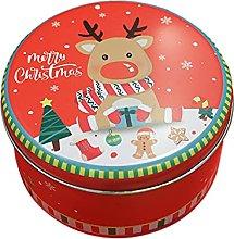 waysad Scatola di latta rotonda di Natale di latta