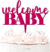 Welcome Baby - Topper per torta in acrilico per