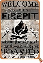 Welcome To Our Firepit Tin 20 x 30 cm Retro Look