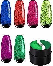 whelsara Set di Gel Luminoso, 6PCS 48ML Spider Gel