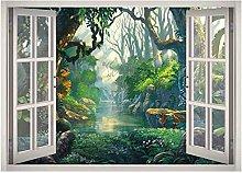 Wild Trees River Window 3D Decalcomania della