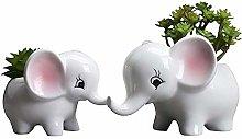Wlnnes 2pcaks elefante ceramica vaso di fiori in