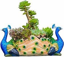 Wlnnes Pavone scultura vaso di fiori, cactus