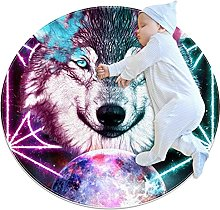 Wolf Fantasy Space Universe - Tappetino rotondo