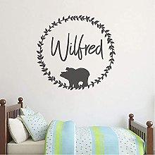 Woodland Bear Nome Personalizzato Wall Sticker