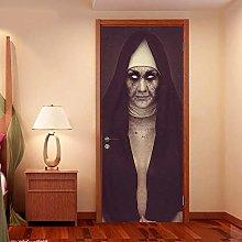 WSNDXZZ Adesivo 3D Halloween Suora Porta Adesivo