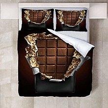 WTWE Biancheria da letto 3D cioccolato, 200 cm x