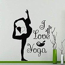 wwccy adesivo I love yoga ginnasta vinile adesivo