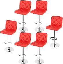 Wyctin - Sedia da bar con bottoni   6 pcs   Rosso
