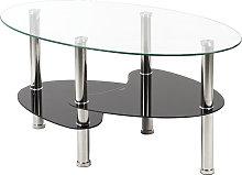 Wyctin - Tavolino da salotto con ripiano in vetro,