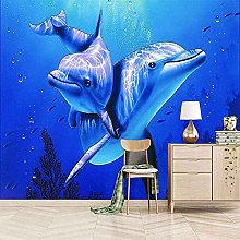 XHXI Whale Blue Walking Bottom 3D Carta da parati