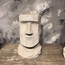 XHZJ Moai Ritratto cemento Flower Pot Antico
