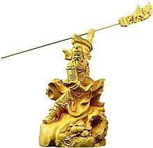 YANRUI Guan Yu Statua Decorazione Bosso
