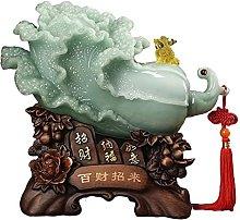 YANRUI Lucky Jade Cavolo Scultura Feng Shui Statua