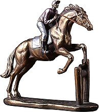 YANRUI Vintage Horse Racing Scultura Animale