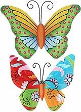 Yardwe 2 Pezzi di Ferro da Parete Farfalla Arte da