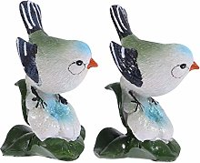 Yardwe 2 Pezzi Vintage Resina Figurine di Uccelli