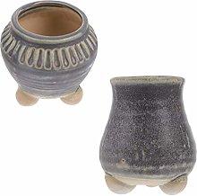 Yardwe 2Pcs di Ceramica Vaso di Fiori al Coperto