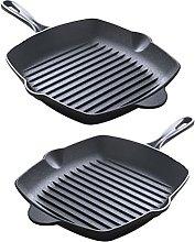 Yardwe 2Pcs di Frittura Padella di Ferro Bistecca