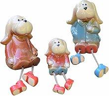 YARNOW 3Pcs Famiglia Cucciolo Figurine Carino