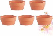 YARNOW Set di 5 Vasi da Fiori Rotondi in Plastica