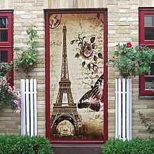 YMXRZDM Carta Parati Porta Torre Eiffel 3D Fai da