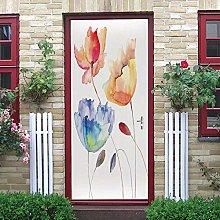 YMXRZDM Carta Parati Porta Tulipani dipinti 3D Fai