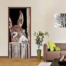 YMXRZDM Porta murale PVC asino animale Adesivo per