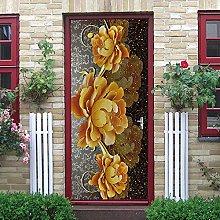 YMXRZDM Porta murale PVC fiori d'oro Adesivo