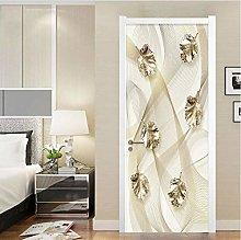 YMXRZDM Porta murale PVC foglie dorate Adesivo per