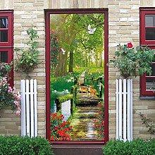 YMXRZDM Porta murale PVC Ponte di legno della
