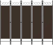 YOUTHUP Paravento a 5 Pannelli Marrone 200x180 cm