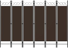 YOUTHUP Paravento a 6 Pannelli Marrone 240x180 cm