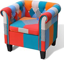 YOUTHUP Poltrona con Design Patchwork in Tessuto -