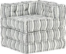 YOUTHUP Pouf Modulare in Tessuto Grigio a Strisce