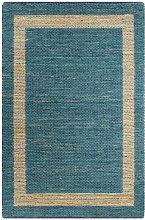 YOUTHUP Tappeto Artigianale in Juta Blu 80x160 cm