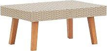 YOUTHUP Tavolino da Giardino in Polyrattan Beige -
