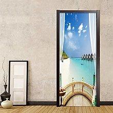 YQLKD 3D Decalcomanie Porte Vista Mare dalla