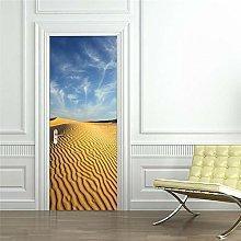 YQLKD Adesivi per Porte Blue Sky Desert Scene 3D