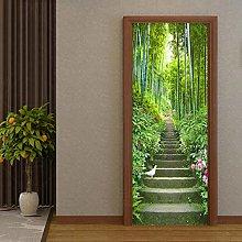 YQLKD Adesivo per Porta Murale 3D Green Forest