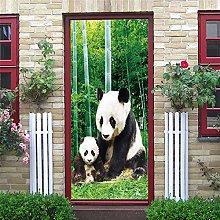 YQLKD Adesivo per Porta Murale Bamboo Forest Panda