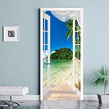 YQLKD Door Murale Carta 3D Seaside Landscape