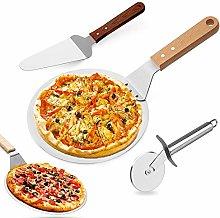 ZAWTR - Pala per pizza 3 in 1 con manico in legno