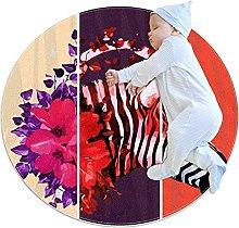 Zebrata con fiori zerbino rotondo lavabile