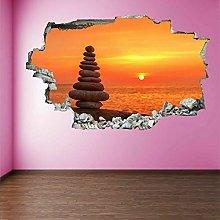 Zen Balancing Stones Sunset Wall Art Stickers