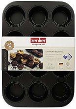 Zenker Black Metallic Stampo Muffin, Acciaio,